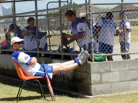 TIME OUT TRACEY: Sydney softballer Tracey Faets had time to put her feet up when her Freshwater Crocodiles team took on Bombers Babes from Ipswich in Queensland during the NZ Masters Games women&#39;s fast pitch series at Braves Ballpark yesterday. PHOTO/STUART MUNRO 060213WCSMSOFTBALL4Softball