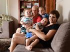 Jo and Dean Goldstein with their children Archie, 18mths, Luke, 4, and Torrin, 7. Jo has been given only eight weeks to live after fighting a rare form of cancer for over a year and is holding a 'wax-off' fundraiser to raise money for the family.