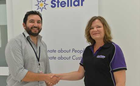 Centre Manager Gui Lombardo with Kelly Powell of Kapow&#39;s Cleaning Services who won the contract to clean the Stellar offices.