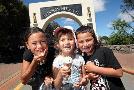 Enjoying Waitangi Day celebrations at Whakanuia are (from left) Bella-Rose Wharerau, 8, Talia Baumfield, 4, and Hemi Kokiri Hohepa, 5. Photo / Ben Fraser