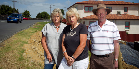 Concerned residents (from left) Annabel Haddrell, Raewyn Roberts and David Price are among at least 260 homeowners who will be affected by the Auckland Transport proposal