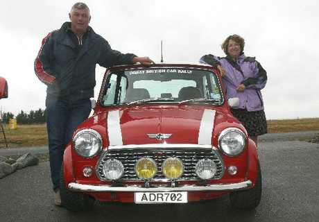 READY TO GO: Sandy and Dave Ryan, of Masterton, and their Mini Cooper off to participate in the Great British Car Rally.
