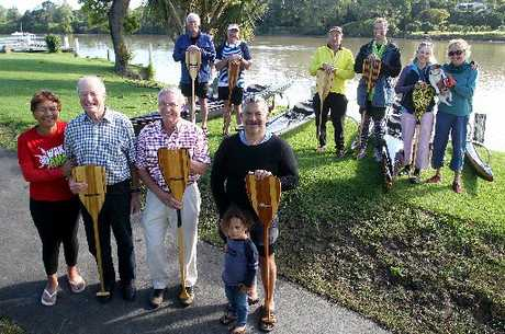 NEW FLEET: Waka ama coach Anne Tauptoro (left, front), Whanganui River Institute trustees Mike Webber, Leedstown Trust trustee Dennis Brown and waka ama coach Heremia Taputoro. Also joining them are chairman Dave Feickert (left rear), Bruce Butters, secretary Rod Trott and Stu Bruce. At right are Susan Kuten and Ali Angus.