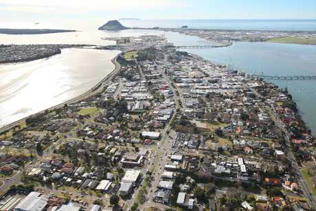 Tauranga CBD with Mount Maunganui in the background. 