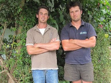 Young Whangarei farmers Ian Douglas, left, 29, and Jamie Lang, 22.