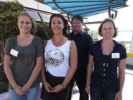 These local students have been recognised for their research into the environmental impacts of Rena. From left: Fenna Beets, Alice Podziewska, Neeltje de Groot and Professor Chris Battershill. Photo / Supplied