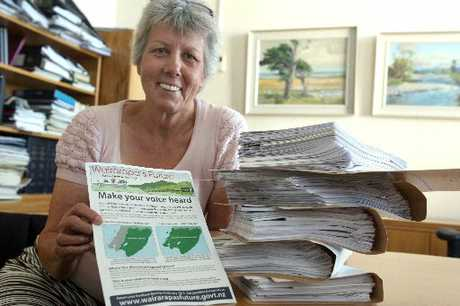 RAPT: Lyn Patterson, working party chairwoman, with more than 1000 returned forms from Wairarapa residents wanting a say on future governance options for the region.