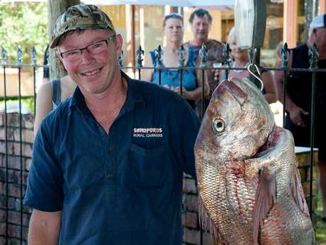 THE BIG ONE: Phil Sandford's snapper was hooked from a boat off Waiinu Beach.