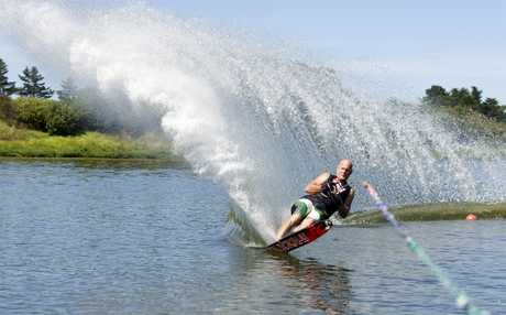 MAKING WAVES: Tauranga waterskier Craig Calder winds his way to Masters Games gold in yesterday's head-to-head slalom on Lake Wiritoa. PHOTO/RAE CLIFFE 090213WCRCSKIING01
