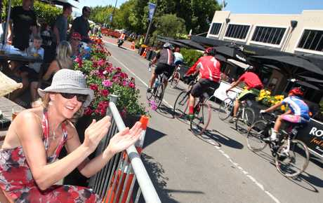 CITY RACING: Cycling was brought into the city yesterday with the Rotorua City Street Criterium passing through Eat Streat. Karen Hunt was there cheering on the cyclists.