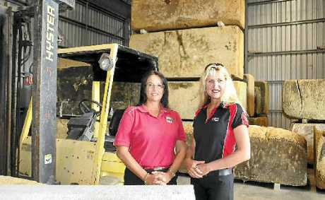 Westpac's Julie Brook talks business with Gympie businesswoman Karra Corbett.