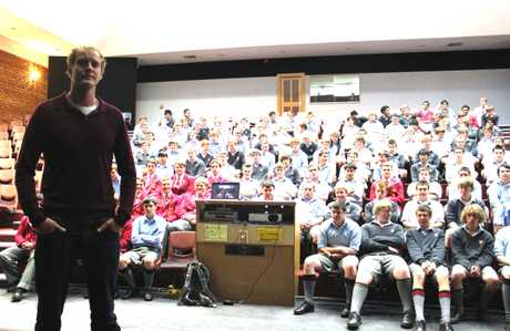 INSPIRATION: James Blake shares his adventures with a group of Year 12 and 13 students at Waitaki Boys' High School. PHOTO/REBECCA RYAN