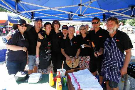 GO TEAM: The Property Brokers team behind the Relay For Life Gala Day fundraiser held at the green space at Queen Elizabeth Park on Saturday. 