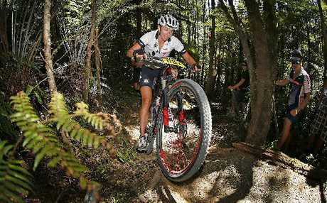 ON TRACK: Whakatane's Karen Hanlen on her way to winning the cross-country mountain bike cup series in Auckland.