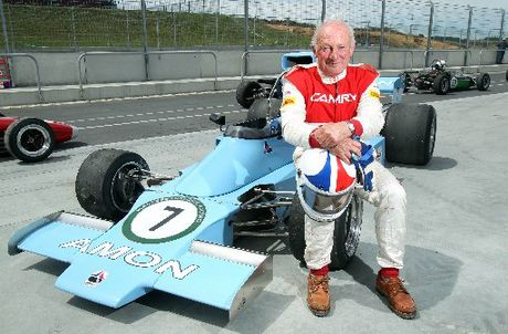 Chris Amon can still display the style of his Formula One days - like this tail-out cornering in a Ferrari 312 at Watkins Glen.