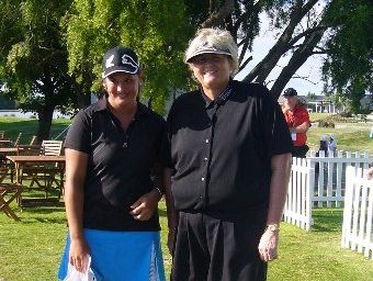 FAR OUT: Kate Chadwick grabs her moment for a quick photograph with her golfing idol, English professional Laura Davies, at Clearwater golf course, Christchurch.