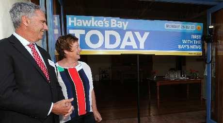 HBT131002-11.JPG L-R: Lawrence Yule, mayor, Hastings District Council, Barbara Arnott, mayor, Napier City Council, unveiled the new masthead, official launch of the new compact version of Hawke's Bay Today, at Ten Twenty Four, Hastings. Photographer: Duncan Brown