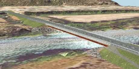 AT LONG LAST: An artist's impression of the new bridge over the southern stream of the Waitaki River between Kurow and Hakataramea. Two new bridges are being built across the river. IMAGE / SUPPLIED