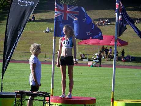 WINNER: Whangarei&#39;s Amanda Still stands proudly on top of the podium after winning the 1500m at the Porritt Classic.