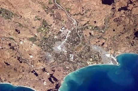 PARCHED: A picture of arid Hawke's Bay taken on February 8 from the International Space Station. Canadian astronaut Chris Hadfield regularly takes photos of cities and countries from space and posts them on his Twitter account.