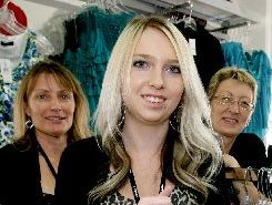 STAR STRUCK: Pagani shop assistant India Kawana (centre) served movie star Kate Winslet in Masterton on Sunday. Also in the store Pagani manager Theresa Trask (left) and and assistant manager Ann Colvin.