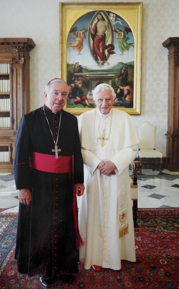 Bishop Brian Heenan with the pope. Photo Contributed