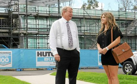 USC Vice Chancellor Professor Greg Hill gets to know first-year nursing student Kirra Mieran after an inspection of the university's Gympie campus, to open by the second semester.