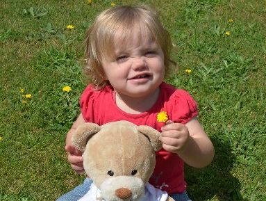 Hayley Ryan, 18 months, with Nait, the travelling teddy bear who visits families affected by the rare blood disorder Neonatal Alloimmune Thrombocytopenia (NAIT).