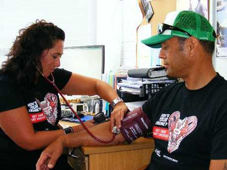 Manaia Health PHO Nurse Rachael Hetaraka takes the blood pressure of Richard Pehi as part of the PHO&#39;s healthy heart checks campaign.