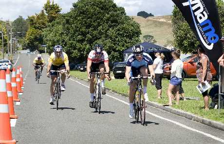 THE SPRINT: The end of stage 6 of the Wellington to Auckland Cycle Challenge resulted in a sprint to the line on Eawstown Rd yesterday with Northland&#39;s Matthew Markby leading, followed by Sheldon Gorter, Steven Stannard and tour leader Gordon McCauley in fourth.PHOTO/RAE CLIFFE 