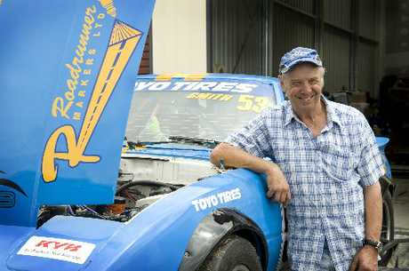 BIRTHDAY BOB: Wanganui racer Bob Smith received the national Mazda Pro RX7 title on his 64th birthday at Manfeild on Saturday. PHOTO/RAE CLIFFE