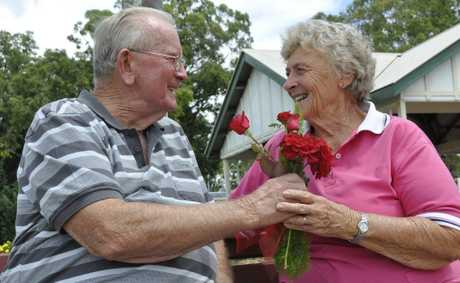 Rod and Maureen Hultgren spent their Valentine s Day together working selling flowers at the Newtown State Rose Garden. Photo Nev Madsen / The Chronicle