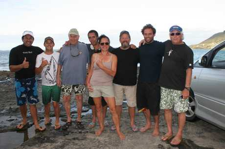 HARD ROCK CAFE: Far North locals meet surfing royalty from left: Pua Rothman, Mark Tan, Walt Hoffman, Benji and Noeline Tepania, Peter Furze, Nathan Fletcher and Henry Ford on the rocks at Shipwreck Bay last month. SO there he was,