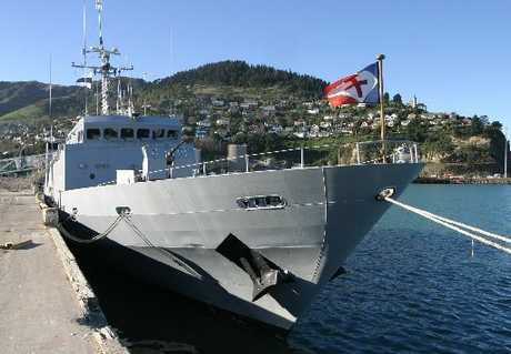Patrol ship FN La Moqueuse, during a visit to Lyttelton nine years ago, is now in the Bay.