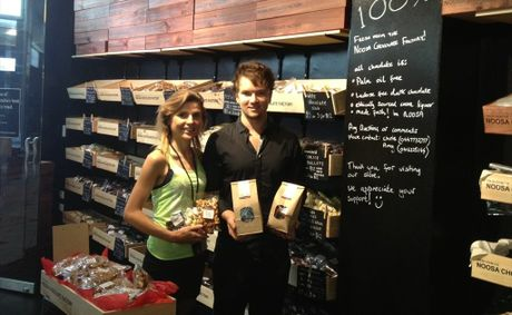 Amy Sargeantson and Chris Thomson at the Noosa Chocolate Factory store at 144 Adelaide St, Brisbane.
