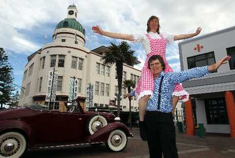 John Olsen, and Diana Olsen from Auckland, get in the mood for art deco weekend