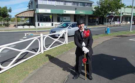 Street entertainer Ian Dinte dressed up as Charlie Chaplin for Valentine&#39;s Day in Hervey Bay.