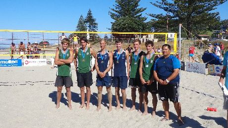 NZ secondary schools senior boys winners, left to right, Liam Matheson/Daryl Lewis, bronze Otumoetai College, Burton McAdam/Brad Fullerton, gold, Tauranga Boys' College, Jack Boyle/Cameron Ragg, silver, Otumoetai College, and Antony Joe, NZ Beach Volleyball coach.