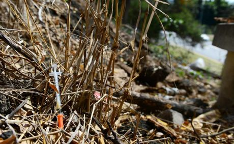 A large number of used syringes have been discarded near the railway overpass on Marsden Parade in Ipswich. Photo: David Nielsen / The Queensland Times