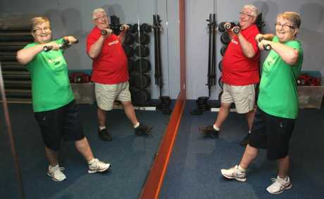 Mike and Phyl Henderson working out at the gym. Photo Allan Reinikka / The Morning Bulletin