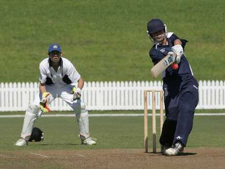 Alex Oakley, Tauranga Boys' College wicketkeeper/batsman, lets fly against Central in a Twenty20 game.