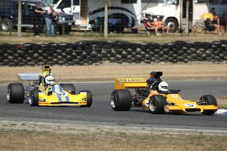 Series champion elect Steve Ross (McRae GM1) leads Clark Proctor in the second MSC race at the MSC NZ F5000 Tasman Cup Revival Series at Ruapuna Park a fortnight ago.