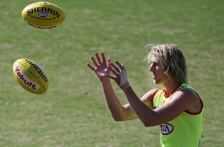 Dyson Heppell marks the ball during an Essendon Bombers AFL training session at Windy Hill on February 14, 2013 in Melbourne, Australia.