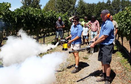 Lara Dunningham, and Andrew McNeil from Fruitfed Supplies demonstrate bird-repelling foggers. Photo / Warren Buckland