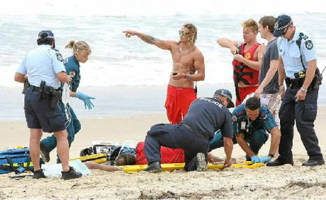 A kayaker was taken to hospital after being rescued by surf lifesavers. He capsized near the Maroochy River mouth this week.