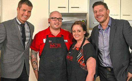 My Kitchen Rules contestants Dan and Steph Mulheron with judges Pete Evans and Manu Feildel.