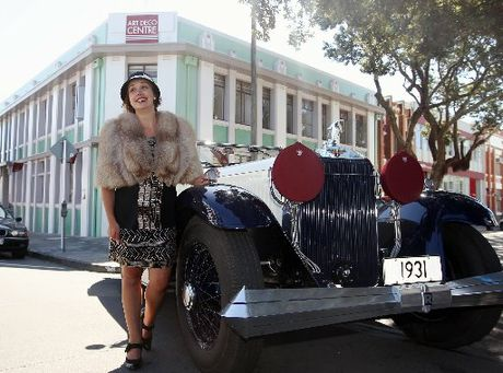 Art Deco Trust manager Sally Jackson with one of the grandest cars to grace the big weekend - a Hispano Suiza once owned by Persian royalty.