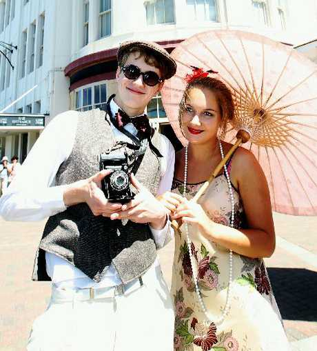 Ashlin Urieli and Nicole Porter from Hastings enjoy the sun and the fun in Napier yesterday.