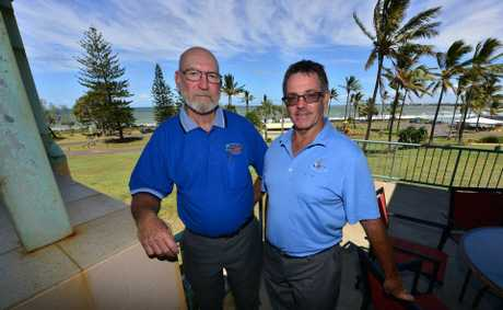 COME ALONG: Coral Coast Chamber of Commerce and Tourism President Vince Urquhart and Bargara Golf Club manager Geoff Peard have organised a charity night. Photo: Scottie Simmonds / NewsMail