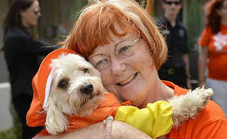 FUNKY PETS: Trish Lockart with Sir Baxtor Lockart is all ready for the pet parade.